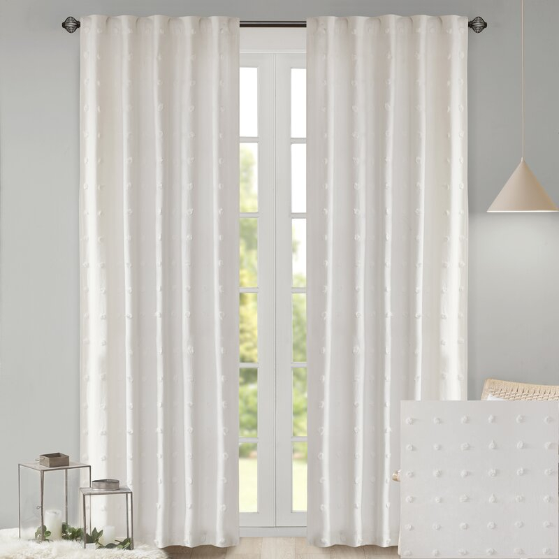 Braunste Cotton Jacquard Pom Pom Window Solid Rod Pocket Single Curtain Panel In Solid Cotton Curtain Panels (View 4 of 47)