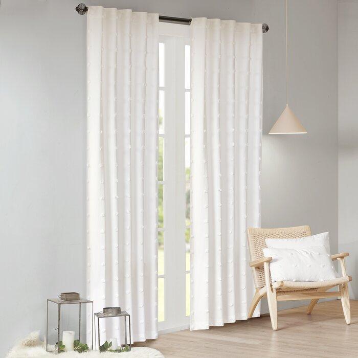 Braunste Cotton Jacquard Pom Pom Window Solid Rod Pocket Single Curtain  Panel With Regard To Solid Cotton Curtain Panels (#9 of 47)
