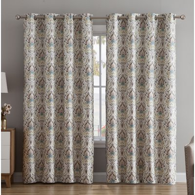 Brayden Studio Kempner Damask Max Blackout Thermal Grommet Inside Sunsmart Dahlia Paisley Printed Total Blackout Single Window Curtain Panels (#3 of 45)