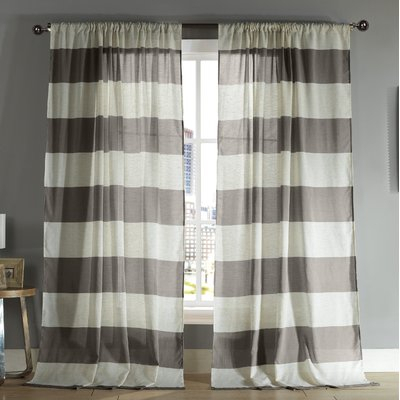 Breakwater Bay Seafarer Striped Semi Sheer Rod Pocket In Ombre Stripe Yarn Dyed Cotton Window Curtain Panel Pairs (View 18 of 31)