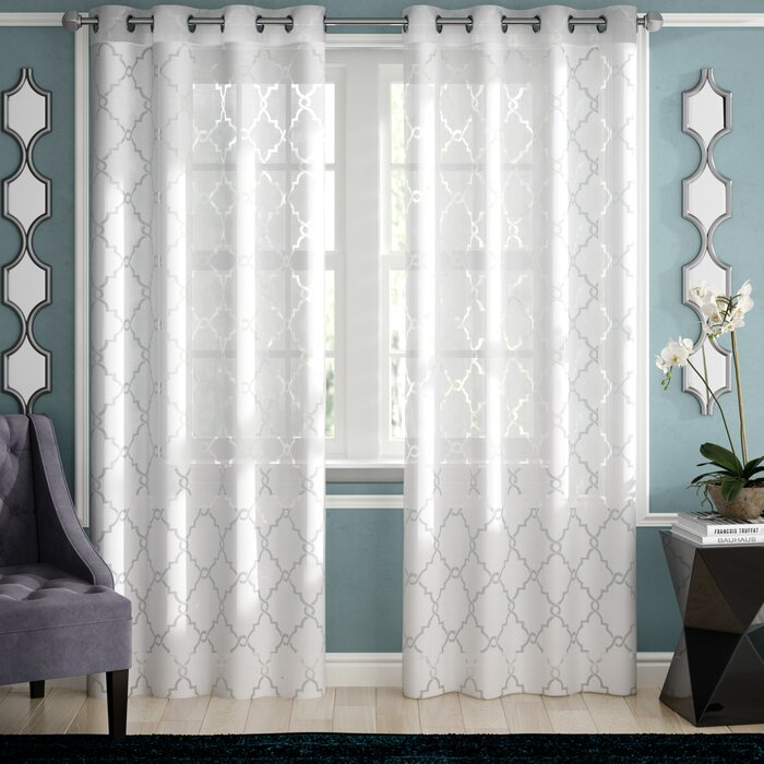 Breckenridge Geometric Sheer Grommet Single Curtain Panel For Fretwork Print Pattern Single Curtain Panels (View 13 of 46)