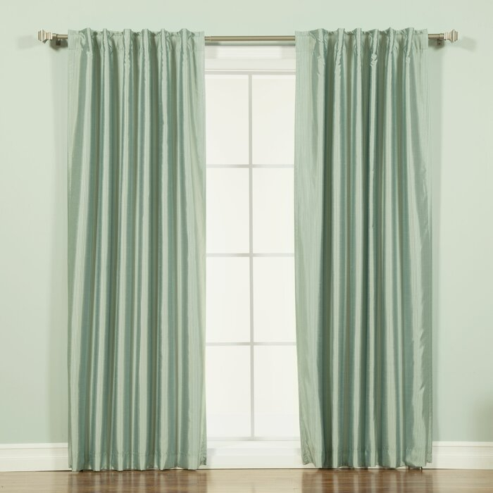 Brecksville Faux Silk Candy Striped Blackout Thermal Rod Pocket Single  Curtain Panel Throughout Ice White Vintage Faux Textured Silk Curtain Panels (View 3 of 50)