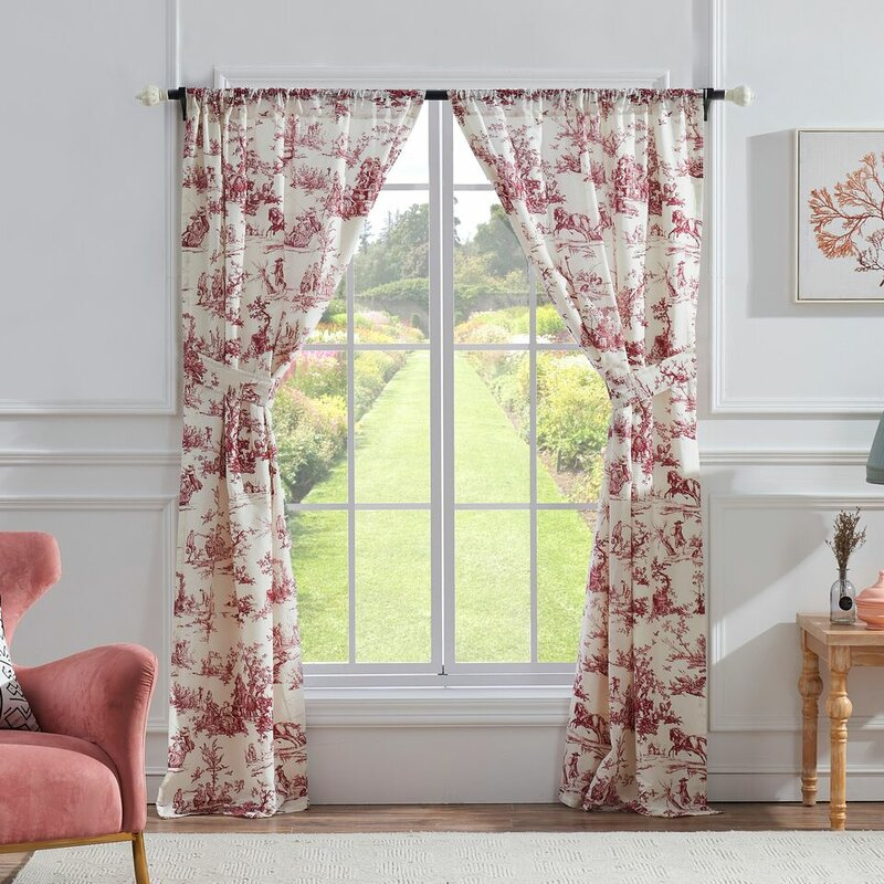 Brenden Toile Semi Sheer Rod Pocket Curtain Panel Pair With Regard To Belgian Sheer Window Curtain Panel Pairs With Rod Pocket (View 14 of 46)