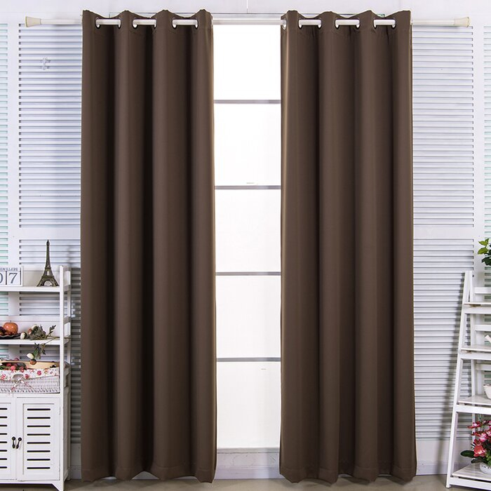 Briarden Solid Blackout Thermal Grommet Curtain Panels In Solid Thermal Insulated Blackout Curtain Panel Pairs (View 6 of 50)