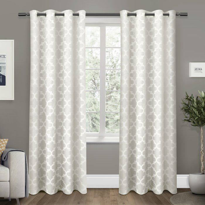 Britain Geometric Room Darkening Thermal Grommet Curtain Regarding Laya Fretwork Burnout Sheer Curtain Panels (View 18 of 38)