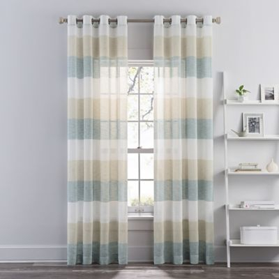 """Brix Stripe 108"""" Sheer Grommet Window Curtain Panel In Blue Throughout Eclipse Darrell Thermaweave Blackout Window Curtain Panels (#4 of 50)"""