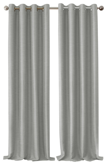 "Brooke Faux Silk Blackout Grommet Curtain Panel, Gray, 52""x84"" Regarding Overseas Faux Silk Blackout Curtain Panel Pairs (#7 of 41)"