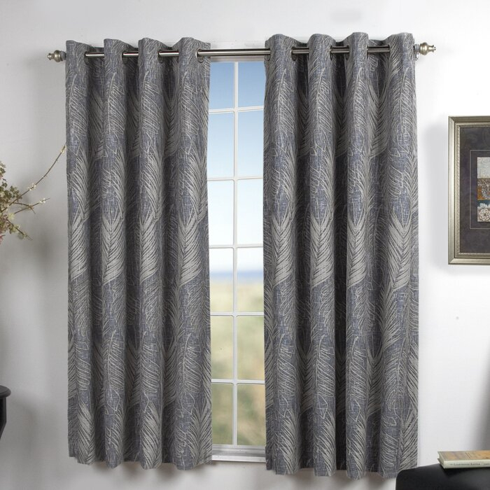 Brookfield Nature/floral Blackout Grommet Single Curtain Panel For Easton Thermal Woven Blackout Grommet Top Curtain Panel Pairs (#10 of 44)