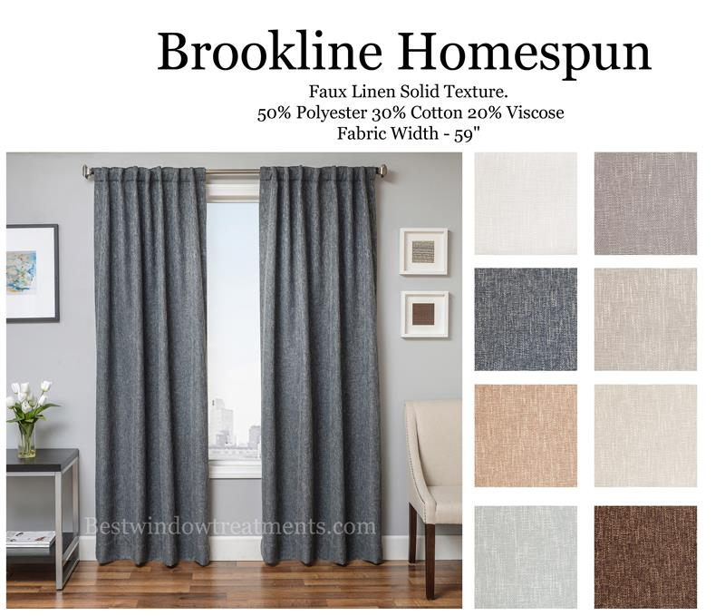 Brookline Linen Curtain Drapery Panels | Bestwindowtreatments Inside Luxury Collection Monte Carlo Sheer Curtain Panel Pairs (#1 of 29)
