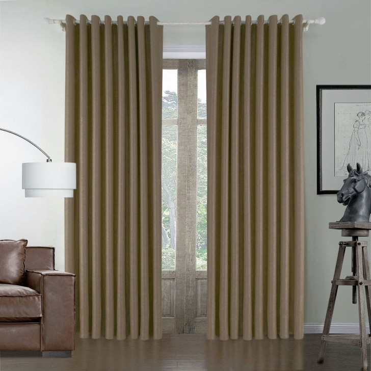 Brown Embossed Blackout Grommet Curtain Panel – 50 With Regard To Blackout Grommet Curtain Panels (View 13 of 40)