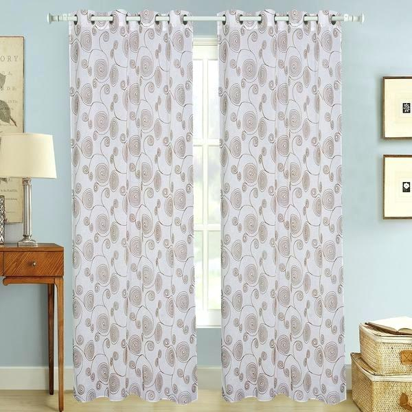Brown Sheer Curtains With Grommets – Esdin Throughout Wavy Leaves Embroidered Sheer Extra Wide Grommet Curtain Panels (#7 of 50)