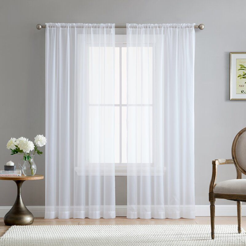 Brushgrove Solid Sheer Rod Pocket Window Curtain Panels In Regarding Elowen White Twist Tab Voile Sheer Curtain Panel Pairs (View 8 of 36)