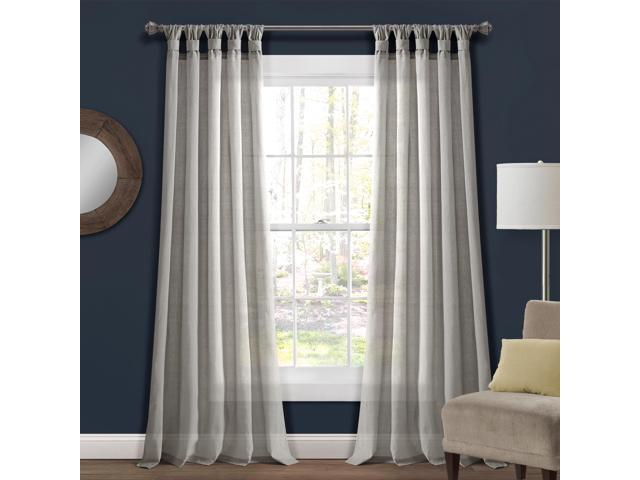 Burlap Knotted Tab Top Window Curtain Panels Light Gray Pair 45X95 Set –  Newegg Within Knotted Tab Top Window Curtain Panel Pairs (#3 of 50)