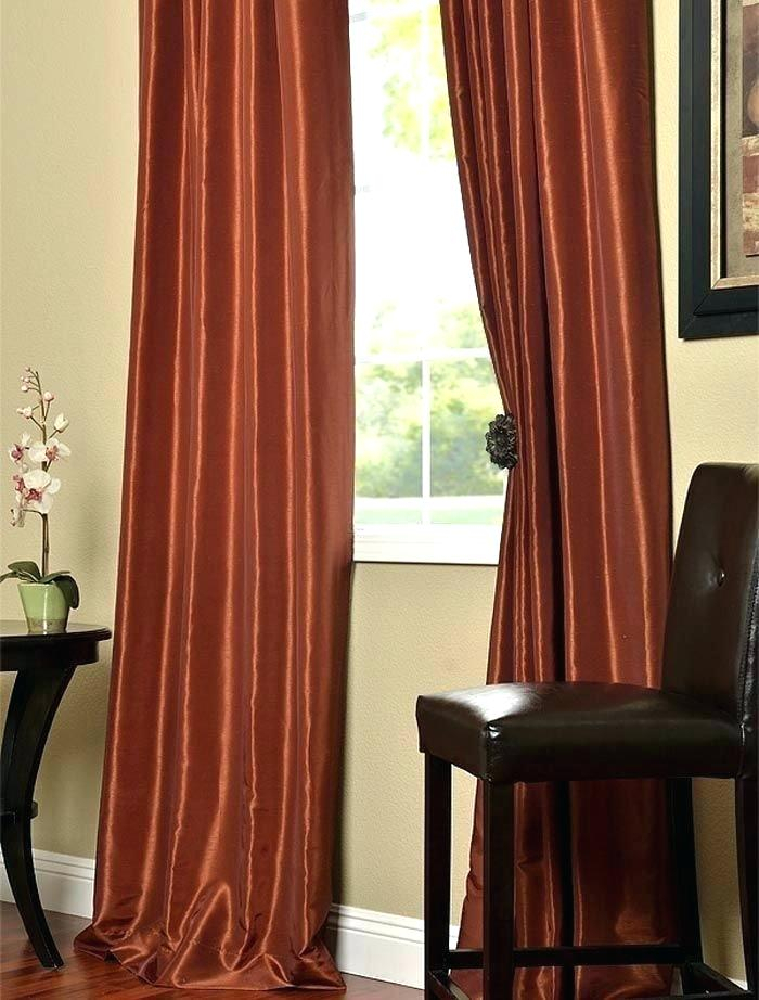 Burnt Orange Sheer Curtains – Trackidz Intended For Ice White Vintage Faux Textured Silk Curtain Panels (View 4 of 50)