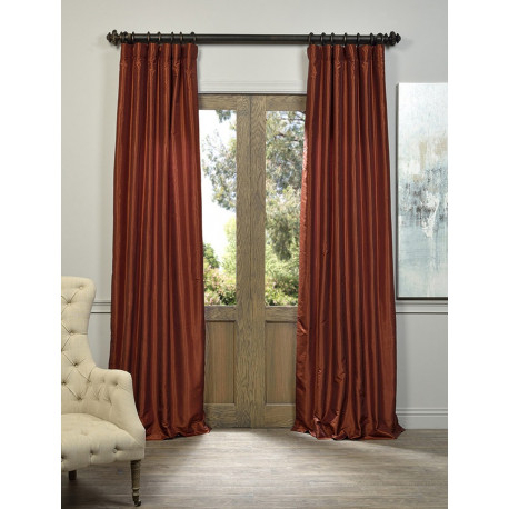 Burnt Orange Vintage Textured Faux Dupioni Silk Curtain –  Curtain Drapery For Vintage Textured Faux Dupioni Silk Curtain Panels (#2 of 50)