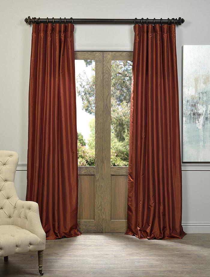 Burnt Orange Vintage Textured Faux Dupioni Silk Curtain Intended For Storm Grey Vintage Faux Textured Dupioni Single Silk Curtain Panels (View 48 of 50)