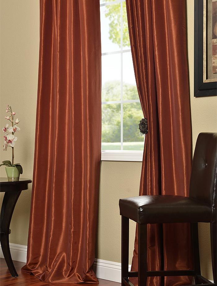 Burnt Orange Vintage Textured Faux Dupioni Silk Curtains Intended For Vintage Textured Faux Dupioni Silk Curtain Panels (#3 of 50)