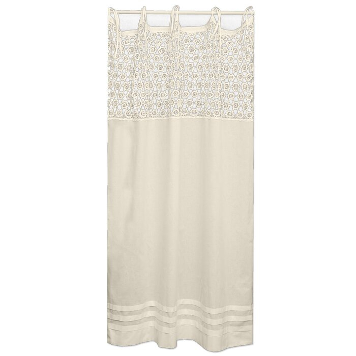 Burrowes Crochet Modern Geometric Semi Sheer Tab Top Single Curtain Panel With Regard To Light Filtering Sheer Single Curtain Panels (#5 of 38)