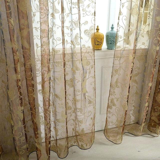 Butterfly Sheer Voile Curtains Panel Floral Pattern Within Emily Sheer Voile Single Curtain Panels (View 2 of 41)