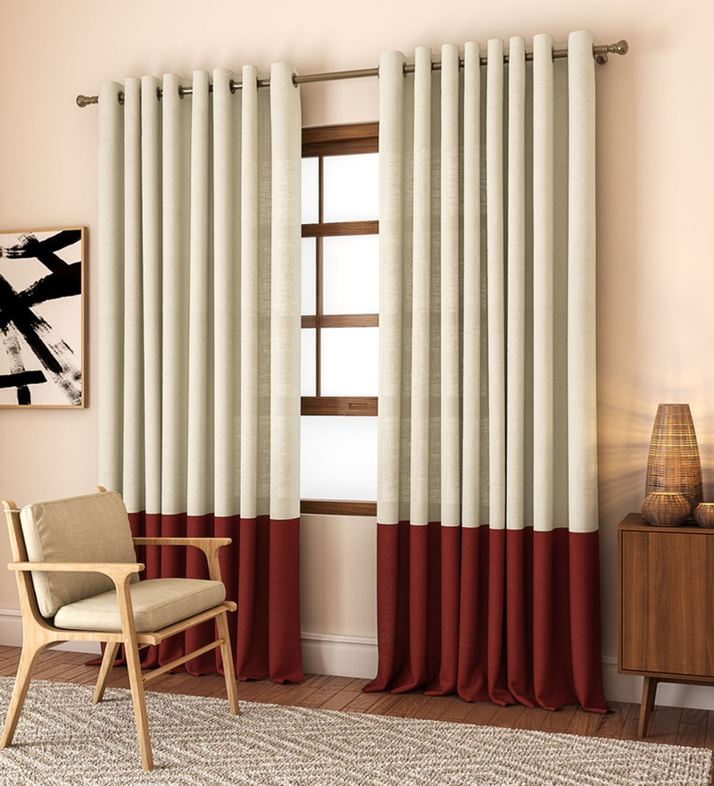 Buy Beige And Green Poly Cotton Banded Linen Blend American For Solid Cotton Pleated Curtains (#4 of 50)