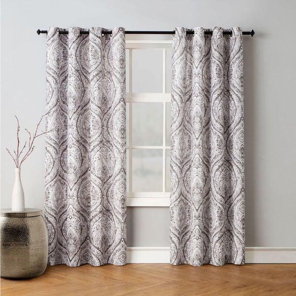 Buy Beige, Damask Curtains & Drapes Online At Overstock Regarding Miranda Haus Labrea Damask Jacquard Grommet Curtain Panels (View 1 of 7)
