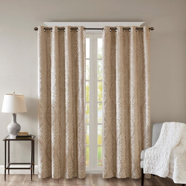 Buy Beige, Damask Curtains & Drapes Online At Overstock With Miranda Haus Labrea Damask Jacquard Grommet Curtain Panels (View 2 of 7)