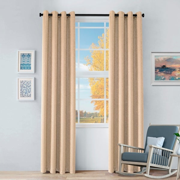 Buy Beige, Stainless Steel Finish Curtains & Drapes Online With Miranda Haus Labrea Damask Jacquard Grommet Curtain Panels (View 3 of 7)