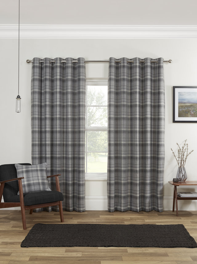 Buy Carnoustie Tartan Check Blackout Lined Ready Made Eyelet Inside London Blackout Panel Pair (#14 of 41)