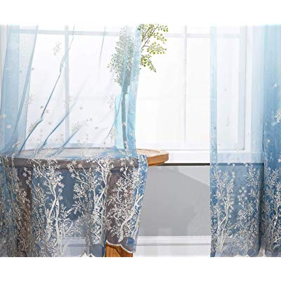 Buy Cherhoo Blue Ombre Light Filtering Embroidered Sheer Regarding Ombre Embroidery Curtain Panels (View 26 of 50)