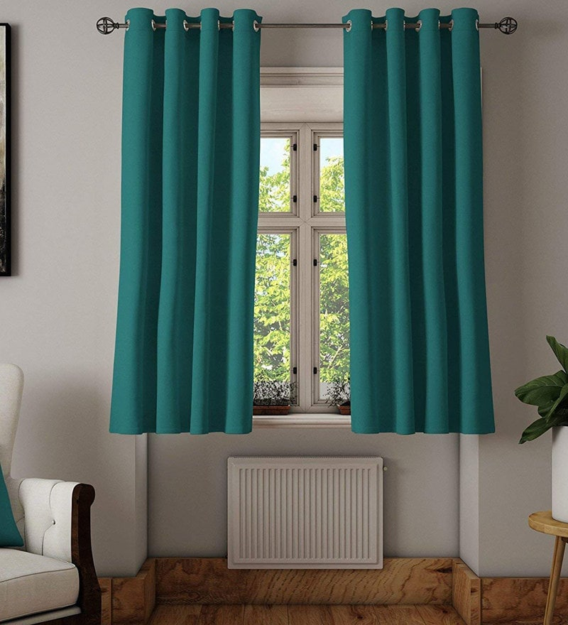 Buy Classic Linen Textured 5 Feet Window Plain Matte With Solid Cotton Pleated Curtains (#5 of 50)
