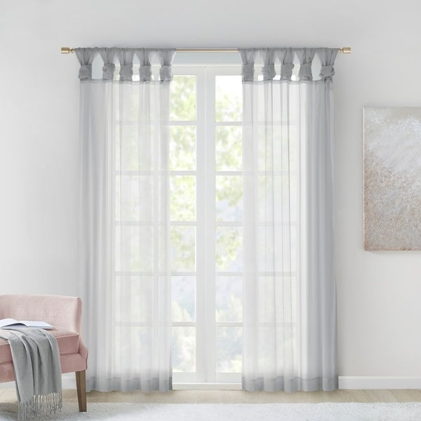 Buy Grey, Shabby Chic, Tab Top Curtains & Drapes Online At Throughout Elowen White Twist Tab Voile Sheer Curtain Panel Pairs (View 9 of 36)