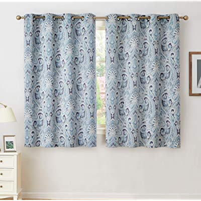 Buy Hlc Paris Paisley Decorative Print Damask Pattern Inside Superior Leaves Insulated Thermal Blackout Grommet Curtain Panel Pairs (View 18 of 50)