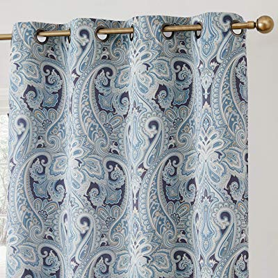 Buy Hlc Paris Paisley Decorative Print Damask Pattern With Geometric Print Textured Thermal Insulated Grommet Curtain Panels (View 4 of 45)