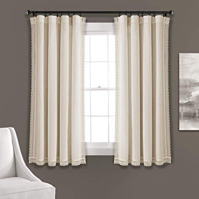 Buy Lush Decor Rosalie Window Curtains Farmhouse, Rustic Within Mid Century Geo Room Darkening Window Curtain Panel Pairs (View 11 of 43)