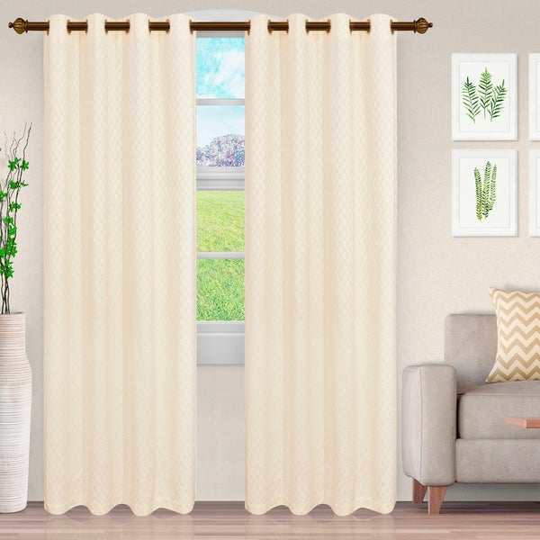 Buy New Products – Ivory, Modern & Contemporary Curtains For Miranda Haus Labrea Damask Jacquard Grommet Curtain Panels (View 4 of 7)