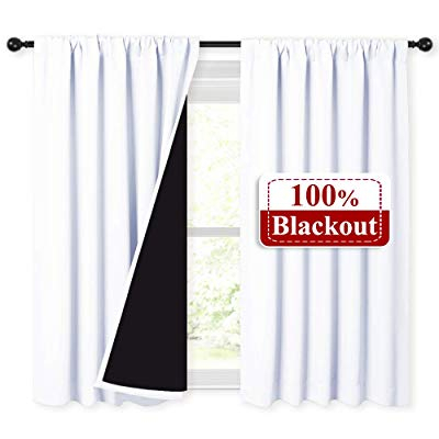 Buy Nicetown White 100% Blackout Curtains 45 Inches Long Intended For Thermal Rod Pocket Blackout Curtain Panel Pairs (#14 of 50)