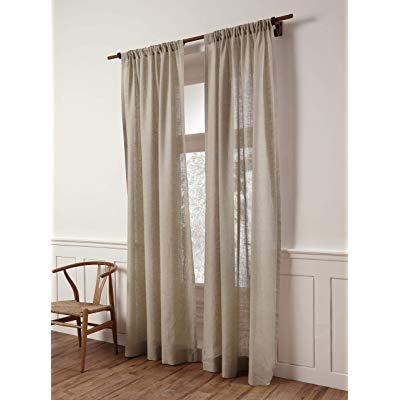 Buy Solino Home 100% Pure Linen Sheer Curtain – 52 X 63 Inch Within Archaeo Washed Cotton Twist Tab Single Curtain Panels (View 11 of 21)