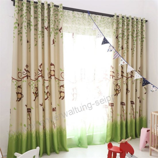 Byetee} Blackout Curtains Cartoon Monkey Kid Bedroom Window Throughout Kida Embroidered Sheer Curtain Panels (#6 of 50)