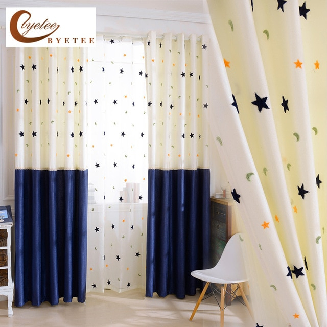 Byetee] Cotton Linen Kids Curtain Baby Room Blackout Curtain Intended For Solid Cotton True Blackout Curtain Panels (#17 of 50)