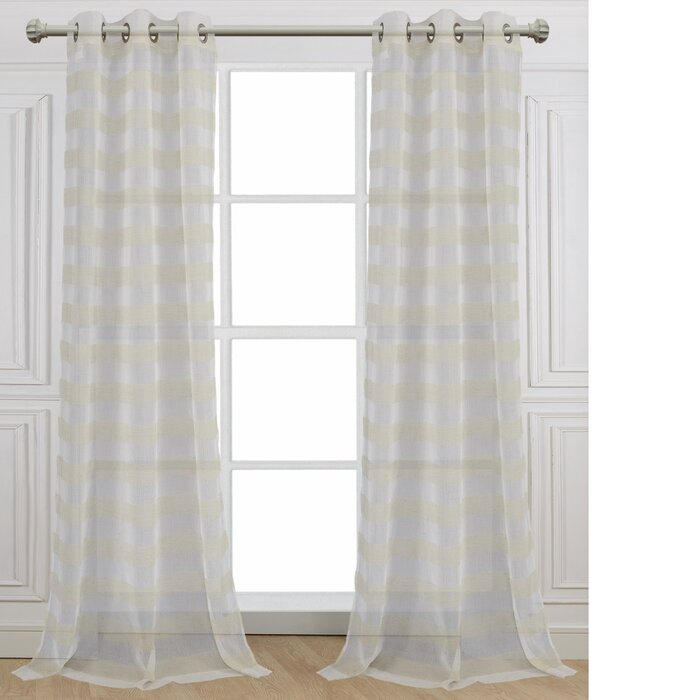 Cabana Striped Sheer Grommet Curtain Panels Inside Julia Striped Room Darkening Window Curtain Panel Pairs (#5 of 37)