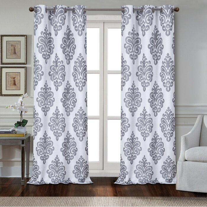Cahawba Textured Appliqué Damask Room Darkening Grommet Panel Pair Within Andorra Watercolor Floral Textured Sheer Single Curtain Panels (View 5 of 46)