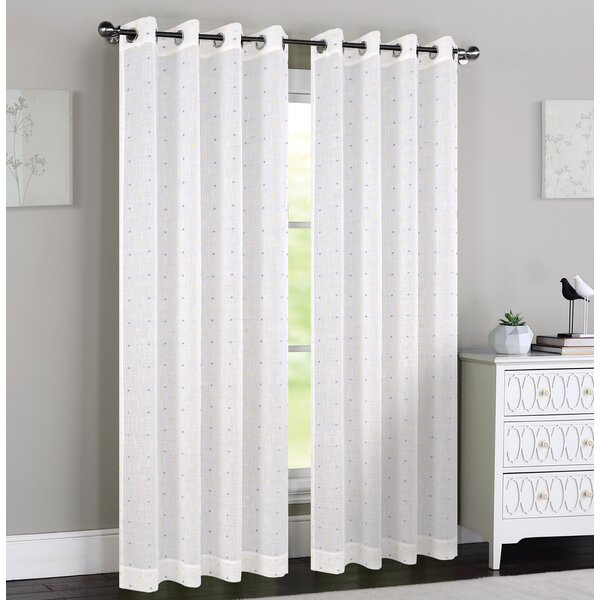 Caillo Polka Dots Sheer Grommet Curtain Panels In Caldwell Curtain Panel Pairs (View 1 of 27)