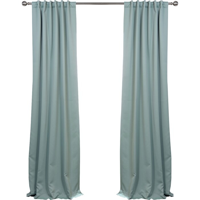 Cairo Solid Room Darkening Thermal Rod Pocket Panel Pair With Cyrus Thermal Blackout Back Tab Curtain Panels (#9 of 39)