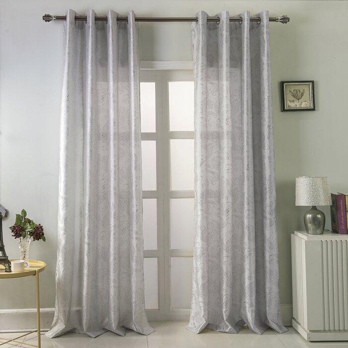 Calahan Paisley Semi Sheer Single Curtain Panel With Regard To Luxury Collection Venetian Sheer Curtain Panel Pairs (#8 of 36)