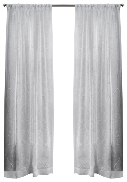 "Cali Sheer Window Curtain With Rod Pocket, Set Of 2, Winter White, 50""x108"" With Edward Moroccan Pattern Room Darkening Curtain Panel Pairs (View 6 of 50)"