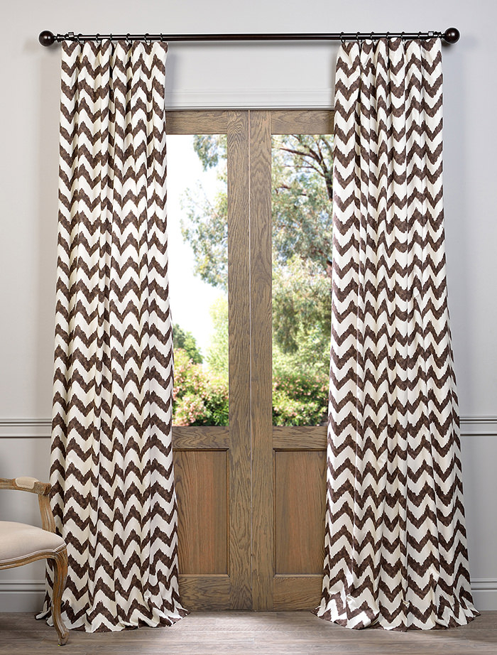 Calipso Brown Printed Cotton Curtain | All Curtains And For Mecca Printed Cotton Single Curtain Panels (View 29 of 50)