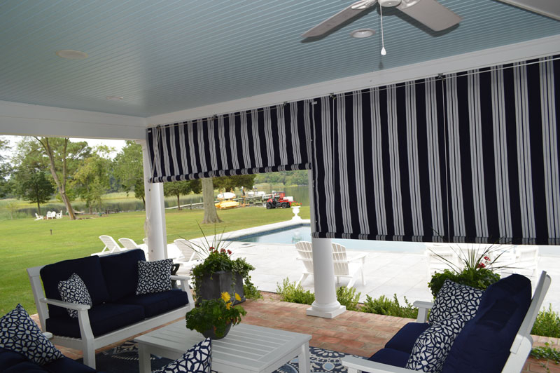 Canvas Porch Roller Curtains  Privacy, Shade & Protection In Matine Indoor/outdoor Curtain Panels (#6 of 50)