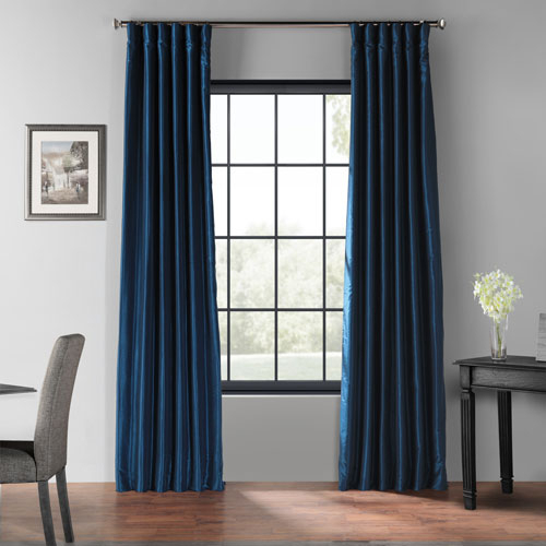 Captain Blue 96 X 50 Inch Blackout Vintage Textured Faux Dupioni Silk  Curtain Single Panel In Vintage Textured Faux Dupioni Silk Curtain Panels (#4 of 50)