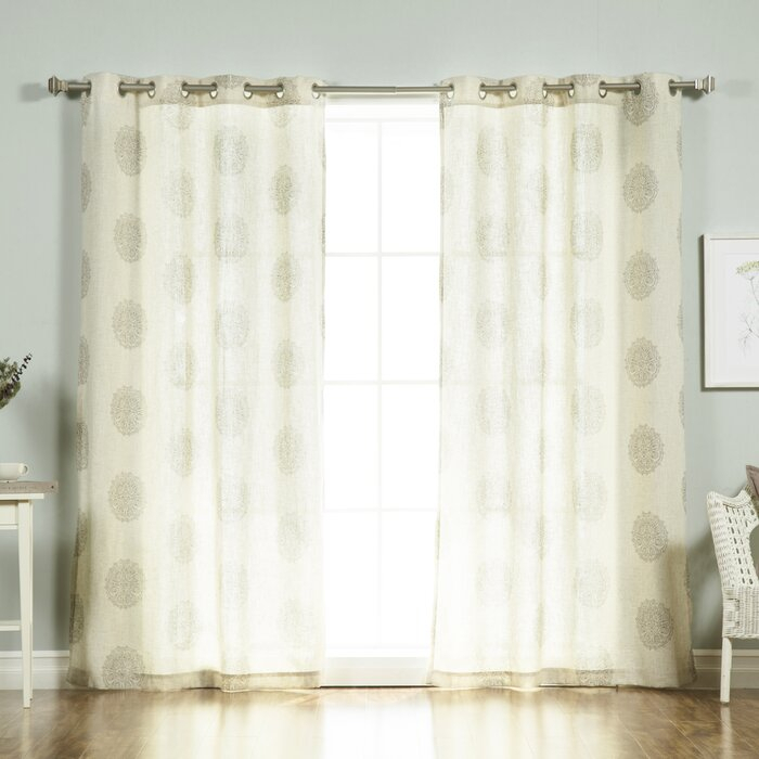 Carney Medallion Geometric Sheer Grommet Curtain Panels Intended For Pastel Damask Printed Room Darkening Grommet Window Curtain Panel Pairs (#9 of 50)