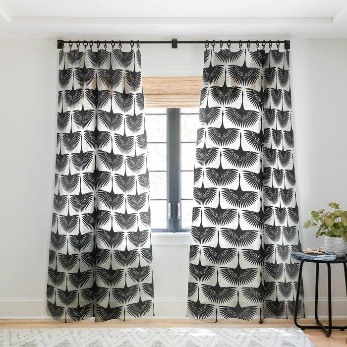 Caroline Okun Majestic Crane Floral Sheer Pinch Pleat Single Curtain Panel Pertaining To Ink Ivy Ankara Cotton Printed Single Curtain Panels (View 30 of 50)